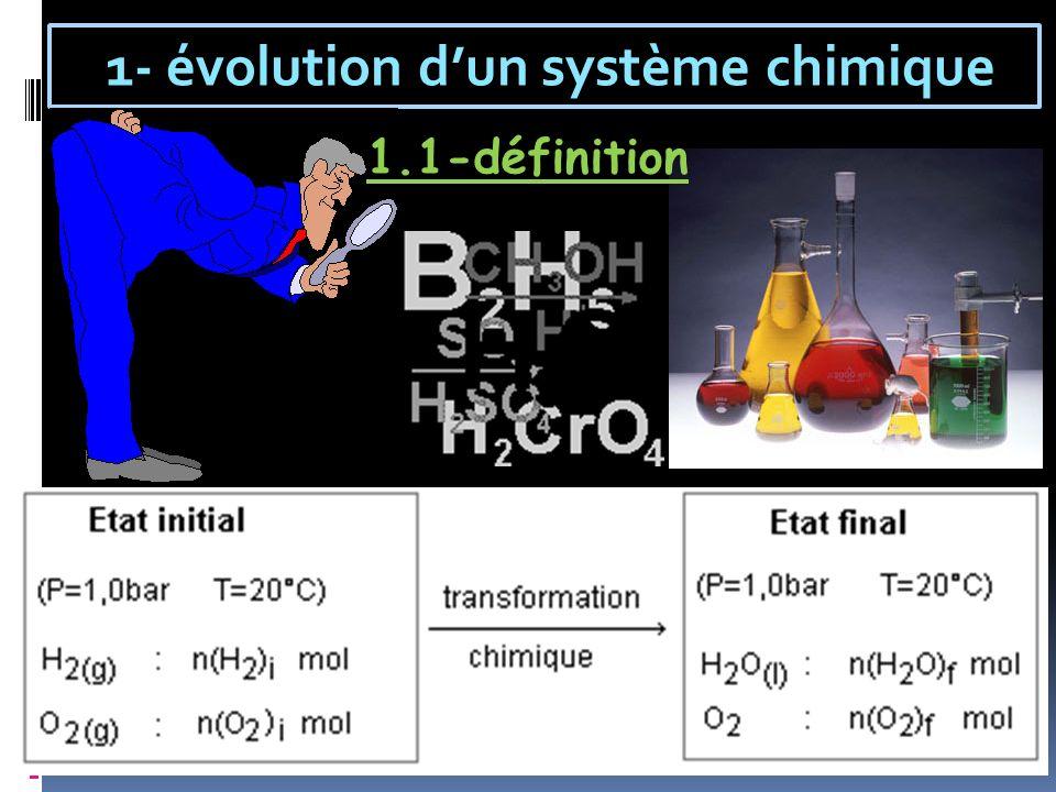 1- évolution d'un système chimique