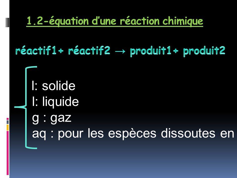 1.2-équation d'une réaction chimique