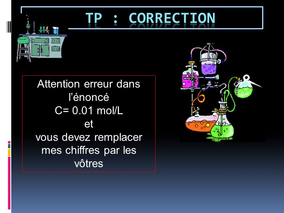 TP : correction Attention erreur dans l'énoncé C= 0.01 mol/L et