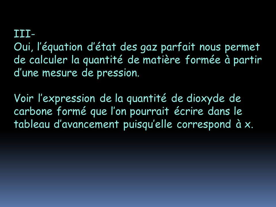 III- Oui, l'équation d'état des gaz parfait nous permet de calculer la quantité de matière formée à partir d'une mesure de pression.