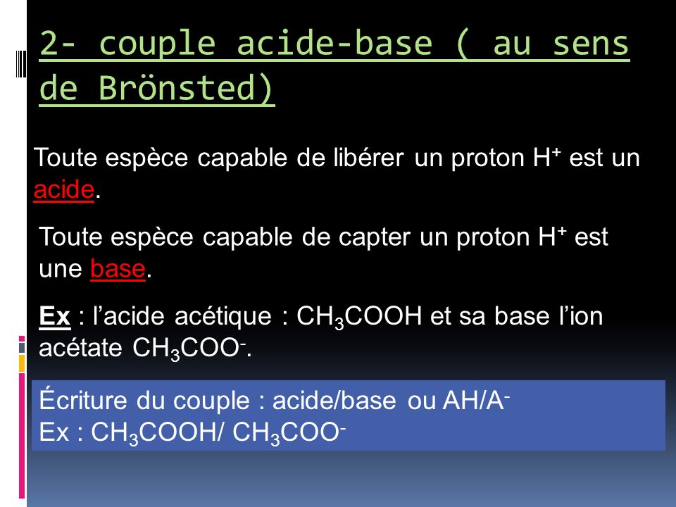 2- couple acide-base ( au sens de Brönsted)