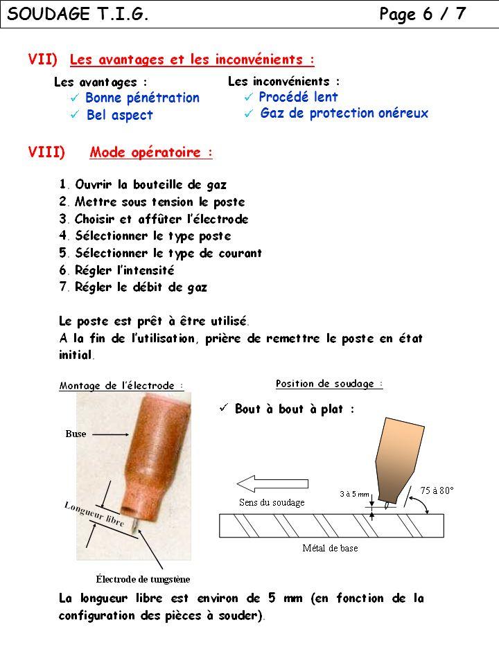 SOUDAGE T.I.G. Page 6 / 7 Bonne pénétration Procédé lent Bel aspect