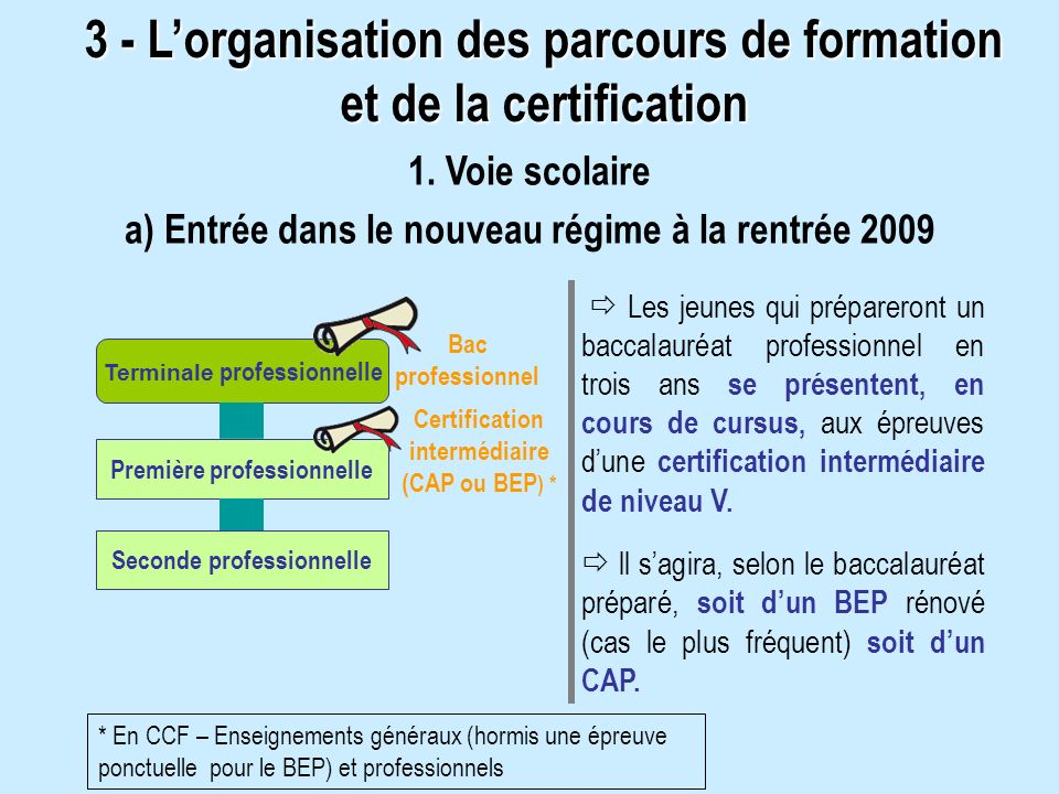 3 - L'organisation des parcours de formation et de la certification
