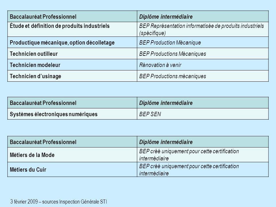 Baccalauréat Professionnel Diplôme intermédiaire