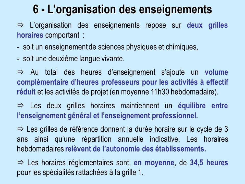 6 - L'organisation des enseignements