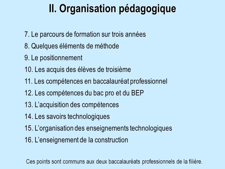 II. Organisation pédagogique