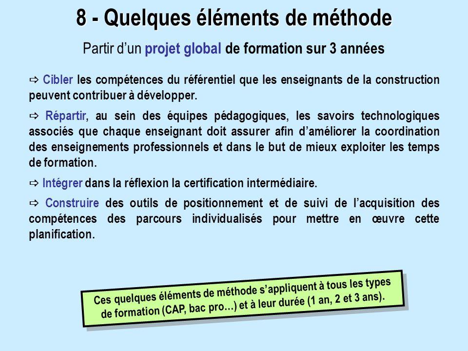 8 - Quelques éléments de méthode