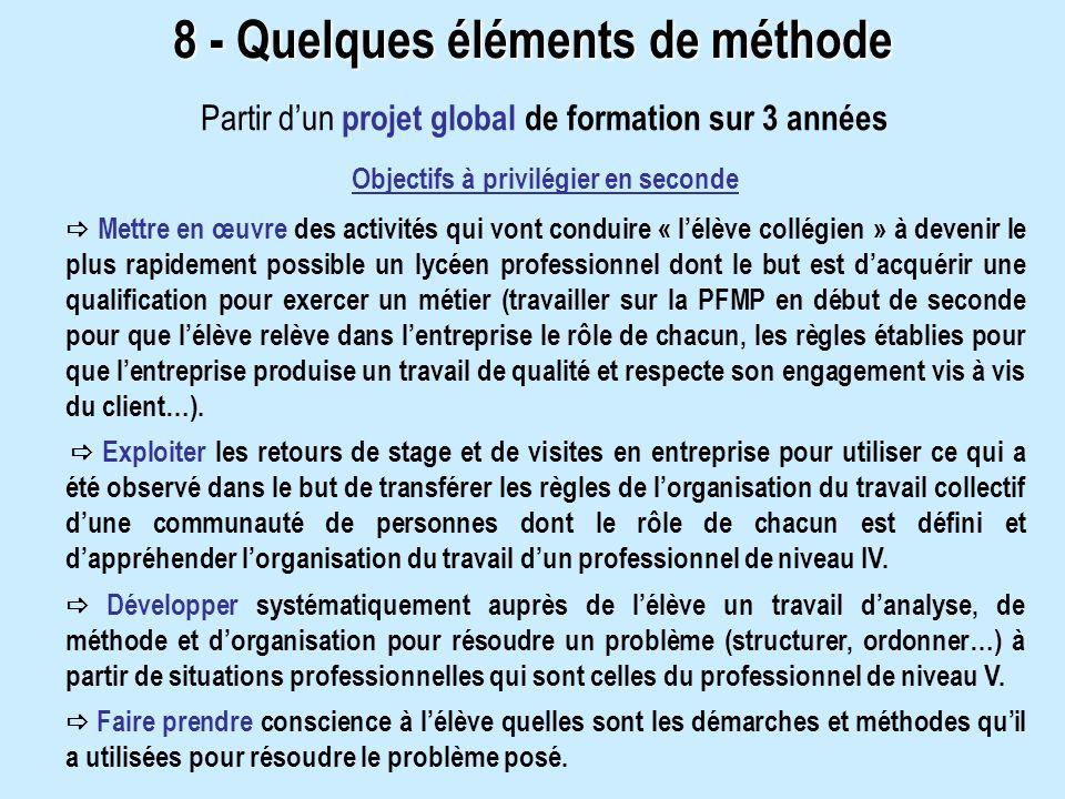 8 - Quelques éléments de méthode Objectifs à privilégier en seconde