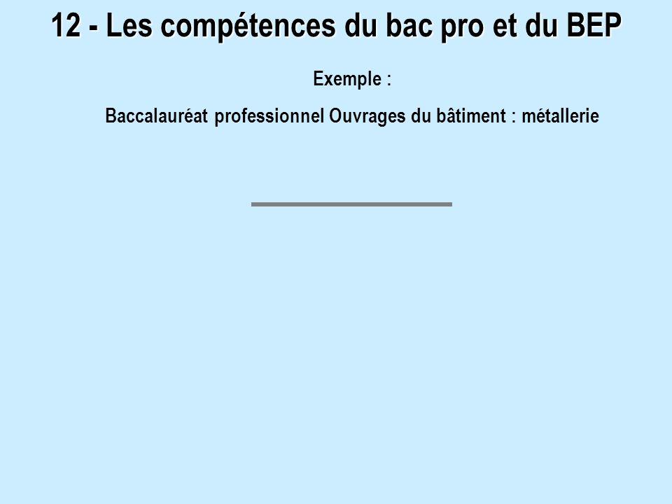 12 - Les compétences du bac pro et du BEP