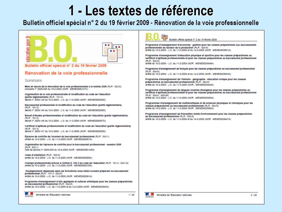 1 - Les textes de référence