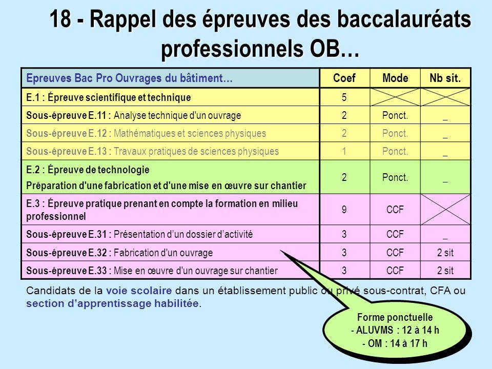 18 - Rappel des épreuves des baccalauréats professionnels OB…