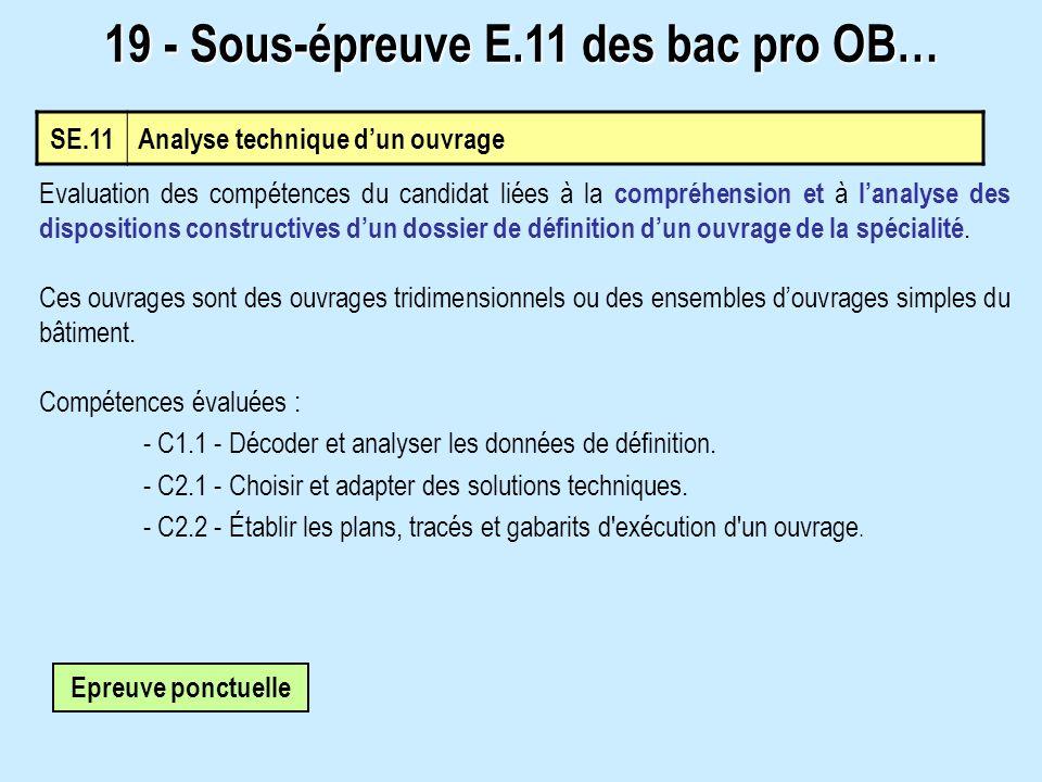 19 - Sous-épreuve E.11 des bac pro OB…
