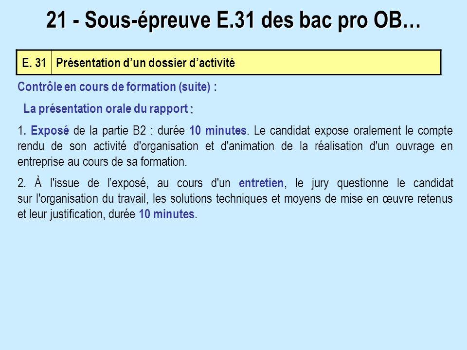 21 - Sous-épreuve E.31 des bac pro OB…