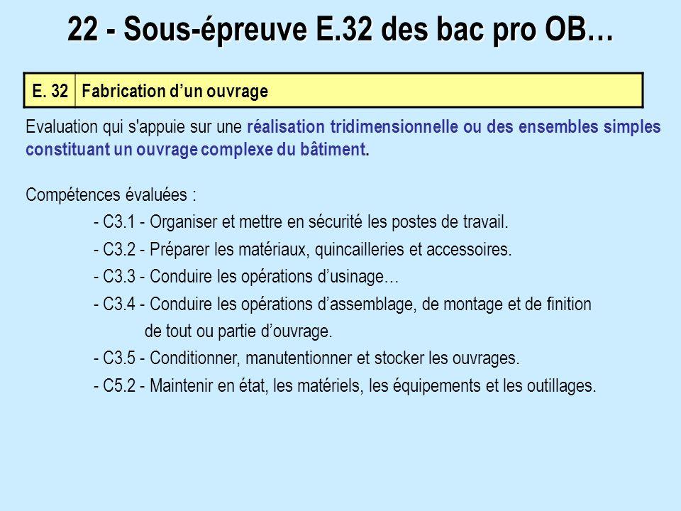 22 - Sous-épreuve E.32 des bac pro OB…