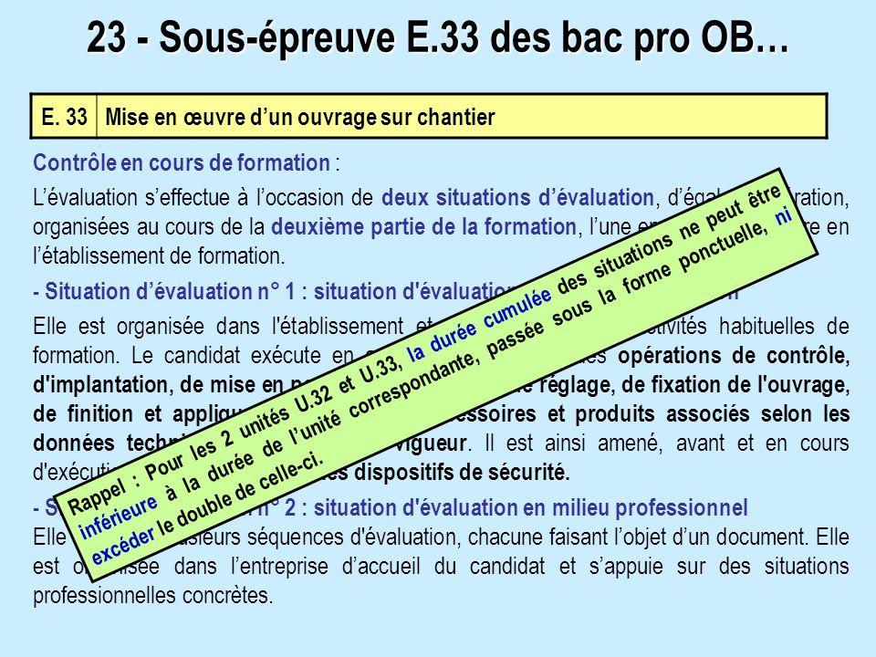 23 - Sous-épreuve E.33 des bac pro OB…