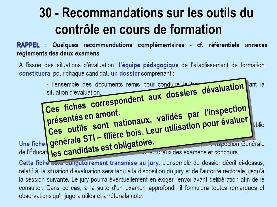 30 - Recommandations sur les outils du contrôle en cours de formation
