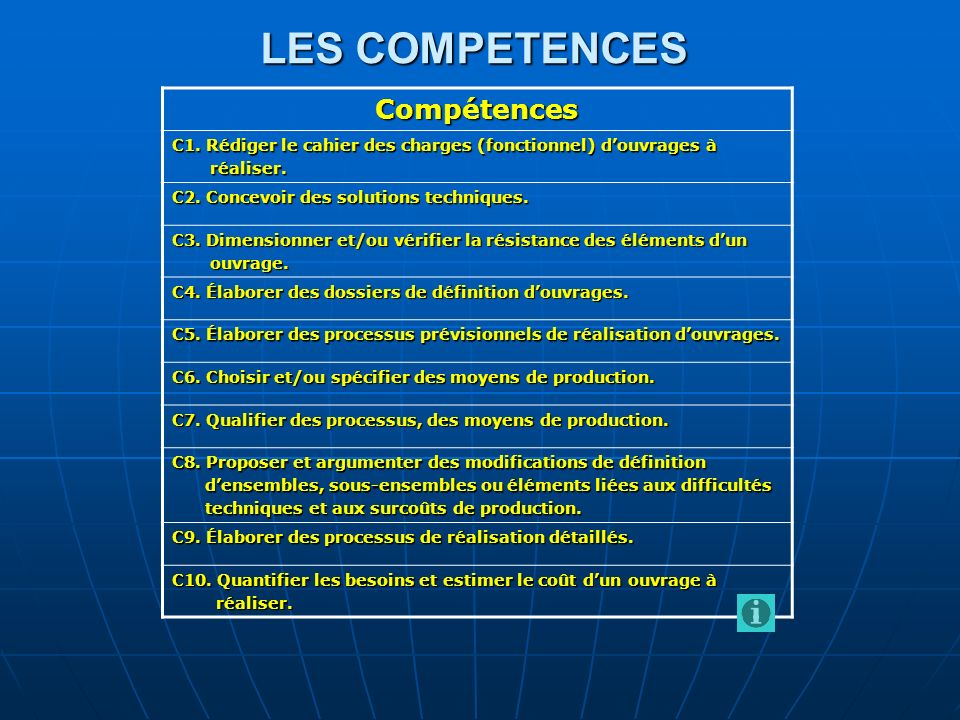 LES COMPETENCES Compétences