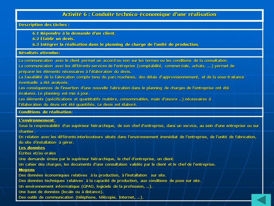 Activité 6 : Conduite technico-économique d'une réalisation