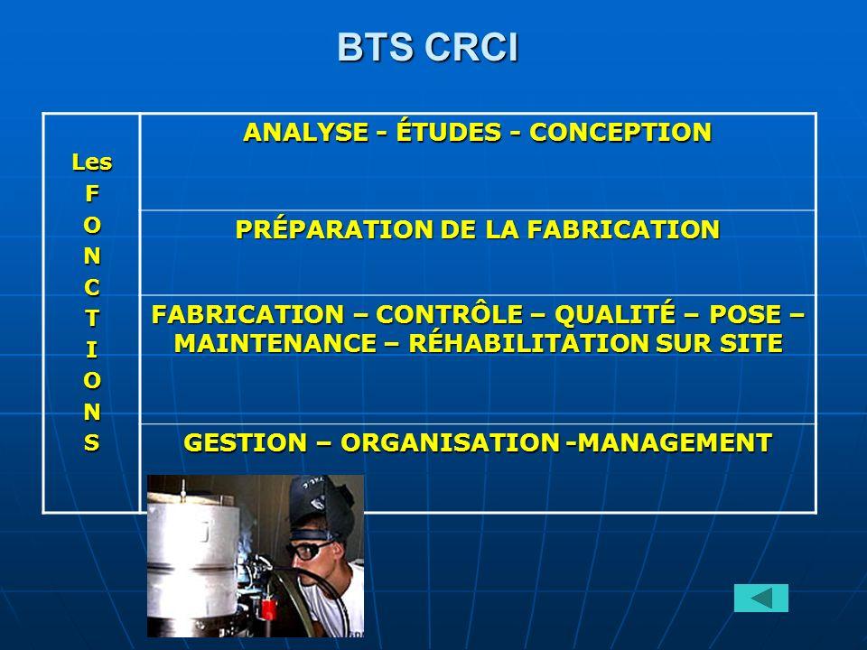 BTS CRCI ANALYSE - ÉTUDES - CONCEPTION PRÉPARATION DE LA FABRICATION
