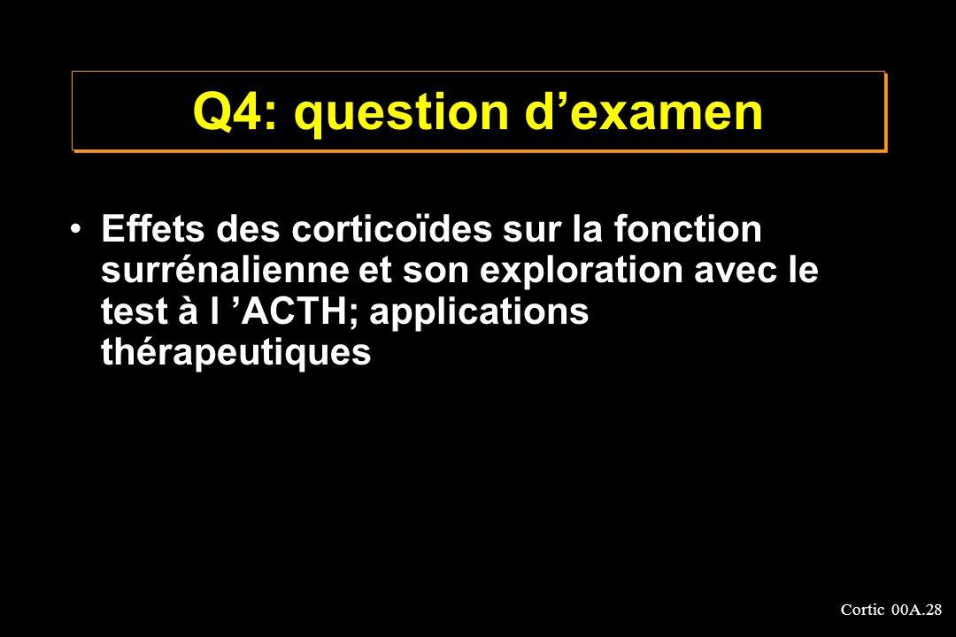 Q4: question d'examen Effets des corticoïdes sur la fonction surrénalienne et son exploration avec le test à l 'ACTH; applications thérapeutiques.