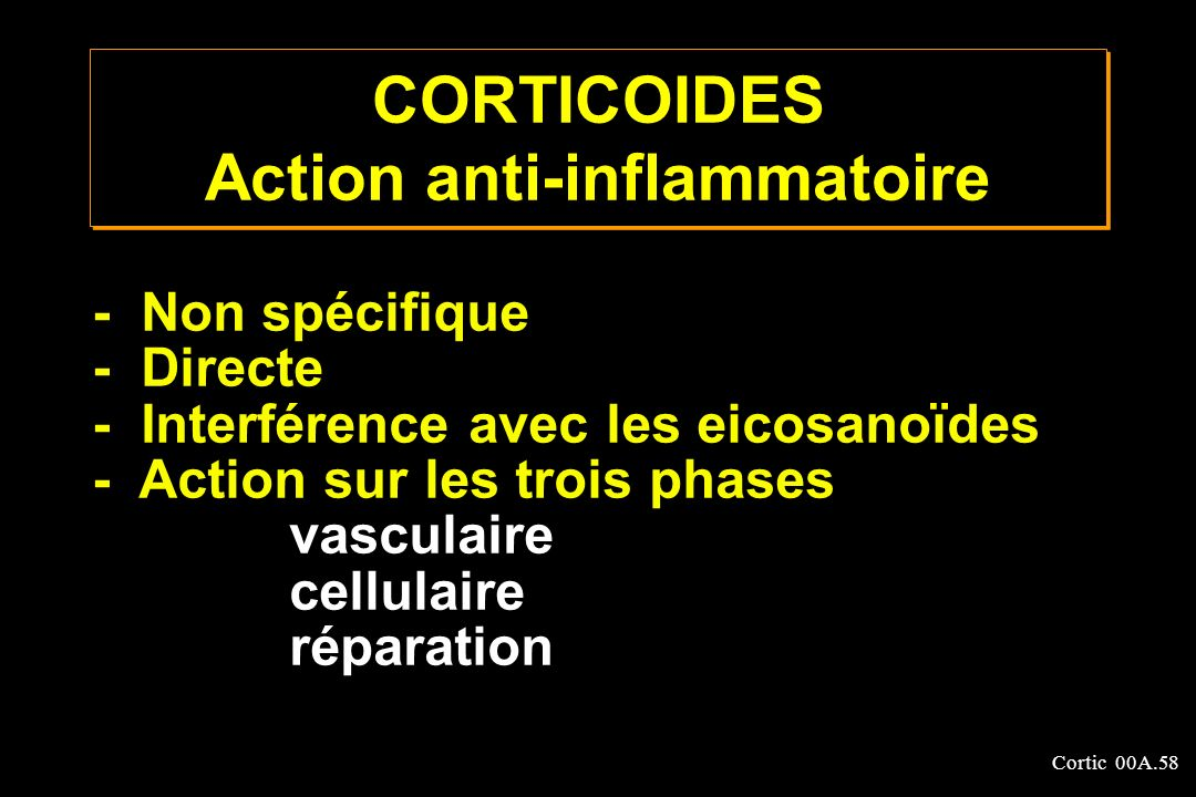 CORTICOIDES Action anti-inflammatoire