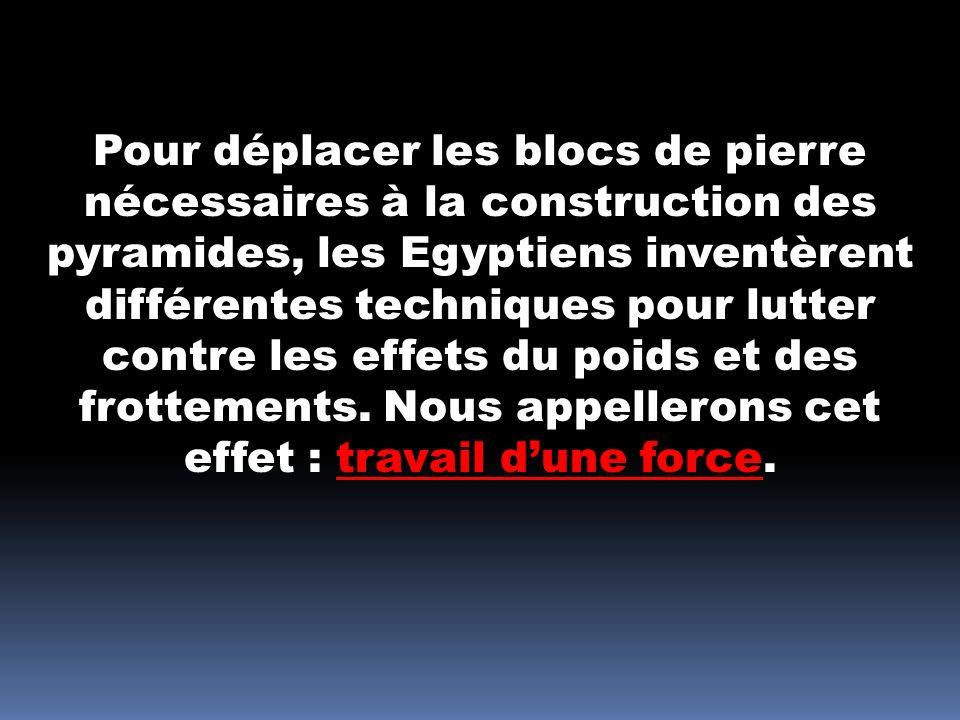 Pour déplacer les blocs de pierre nécessaires à la construction des pyramides, les Egyptiens inventèrent différentes techniques pour lutter contre les effets du poids et des frottements.