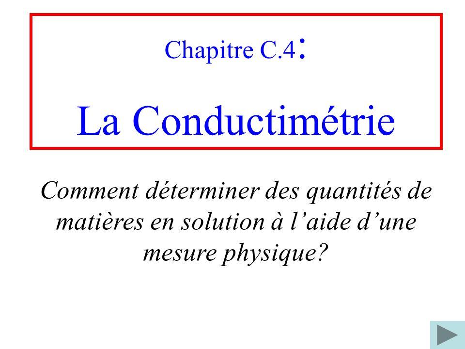 La Conductimétrie Chapitre C.4: