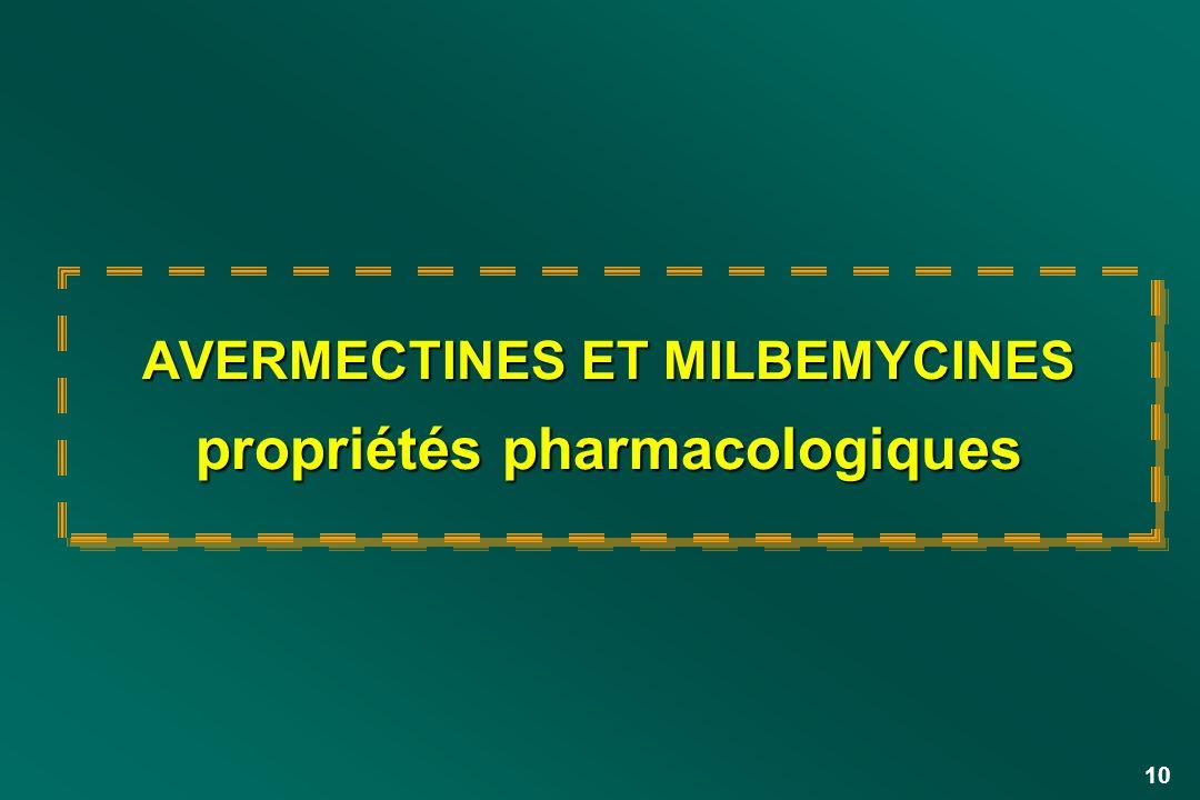 AVERMECTINES ET MILBEMYCINES propriétés pharmacologiques