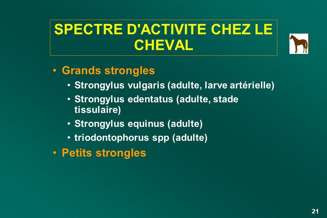 SPECTRE D ACTIVITE CHEZ LE CHEVAL