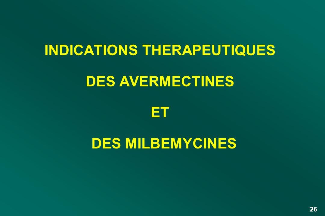 INDICATIONS THERAPEUTIQUES DES AVERMECTINES ET DES MILBEMYCINES