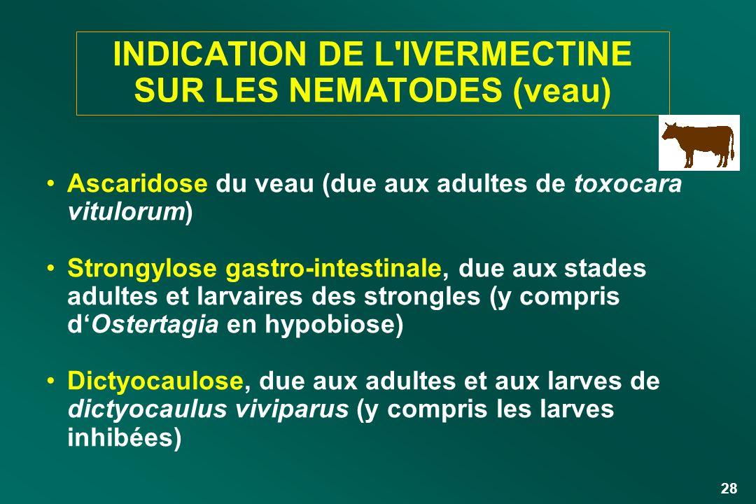 INDICATION DE L IVERMECTINE SUR LES NEMATODES (veau)