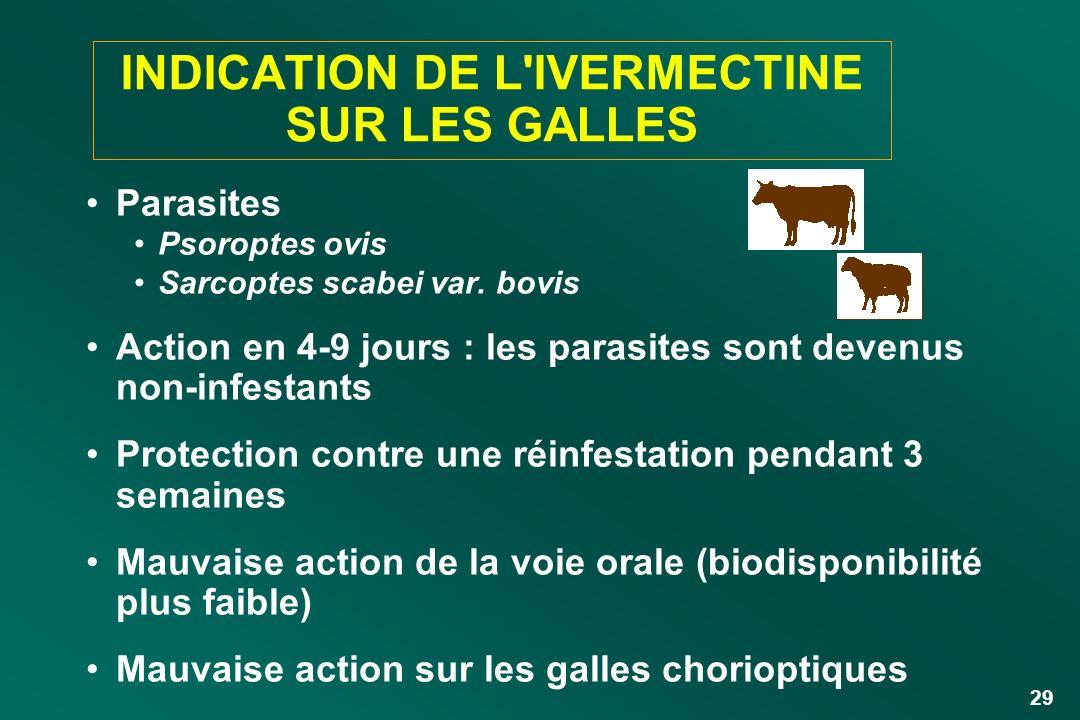 INDICATION DE L IVERMECTINE SUR LES GALLES