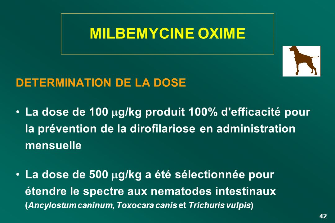 MILBEMYCINE OXIME DETERMINATION DE LA DOSE