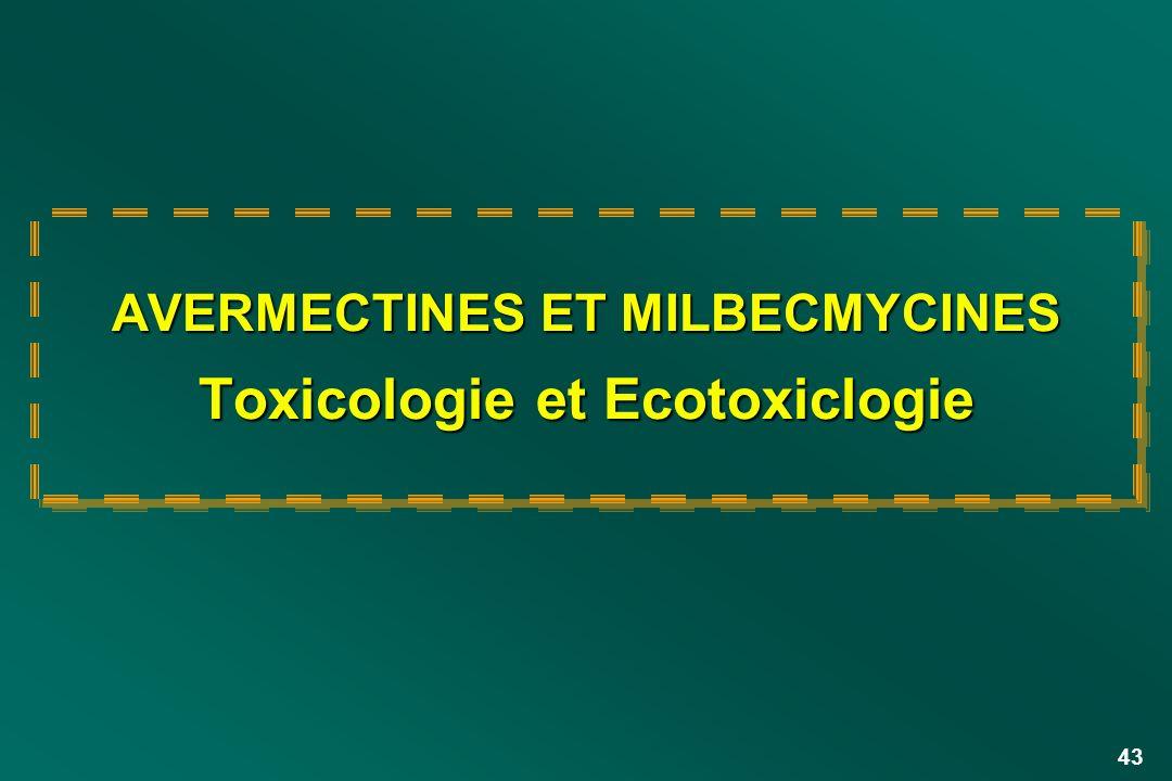 AVERMECTINES ET MILBECMYCINES Toxicologie et Ecotoxiclogie