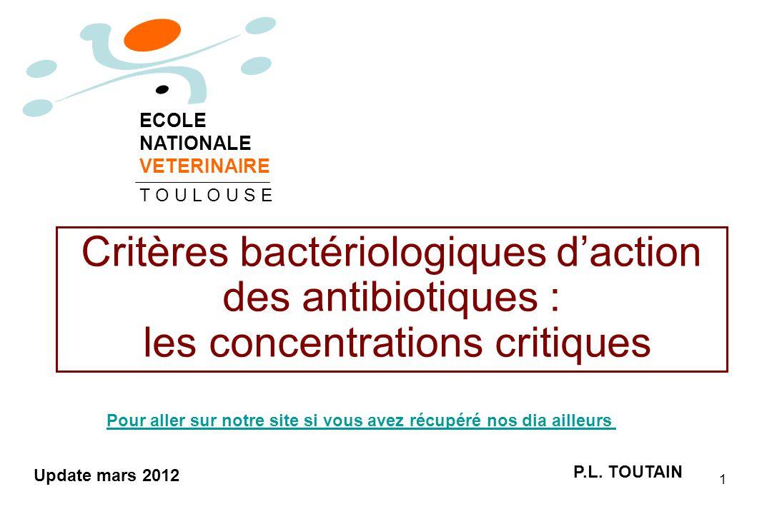ECOLE NATIONALE. VETERINAIRE. T O U L O U S E. Critères bactériologiques d'action des antibiotiques : les concentrations critiques.