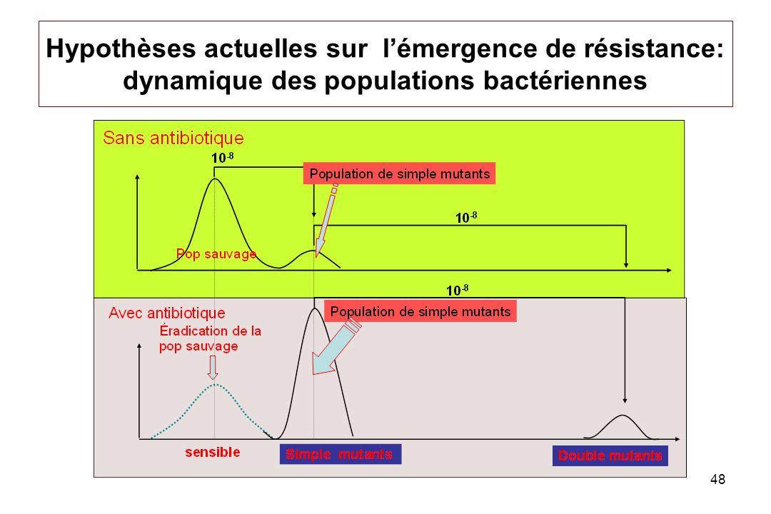 Hypothèses actuelles sur l'émergence de résistance: dynamique des populations bactériennes
