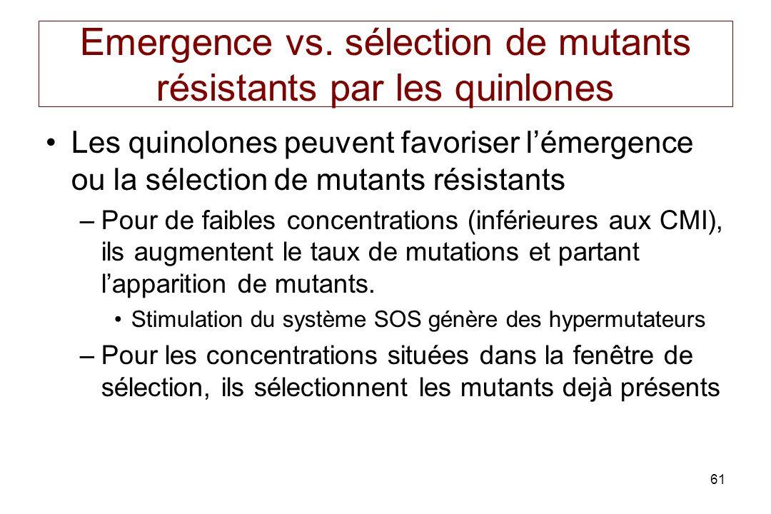 Emergence vs. sélection de mutants résistants par les quinlones