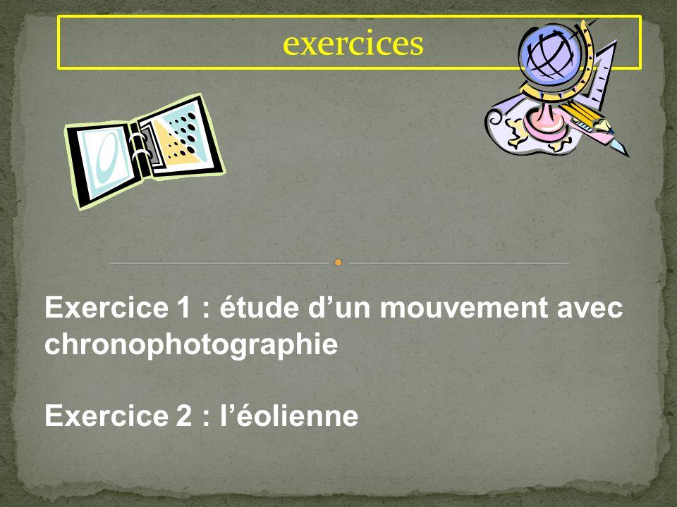 exercices Exercice 1 : étude d'un mouvement avec chronophotographie