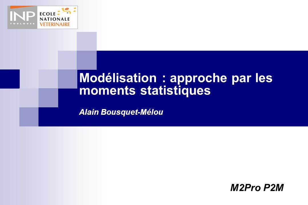 Modélisation : approche par les moments statistiques