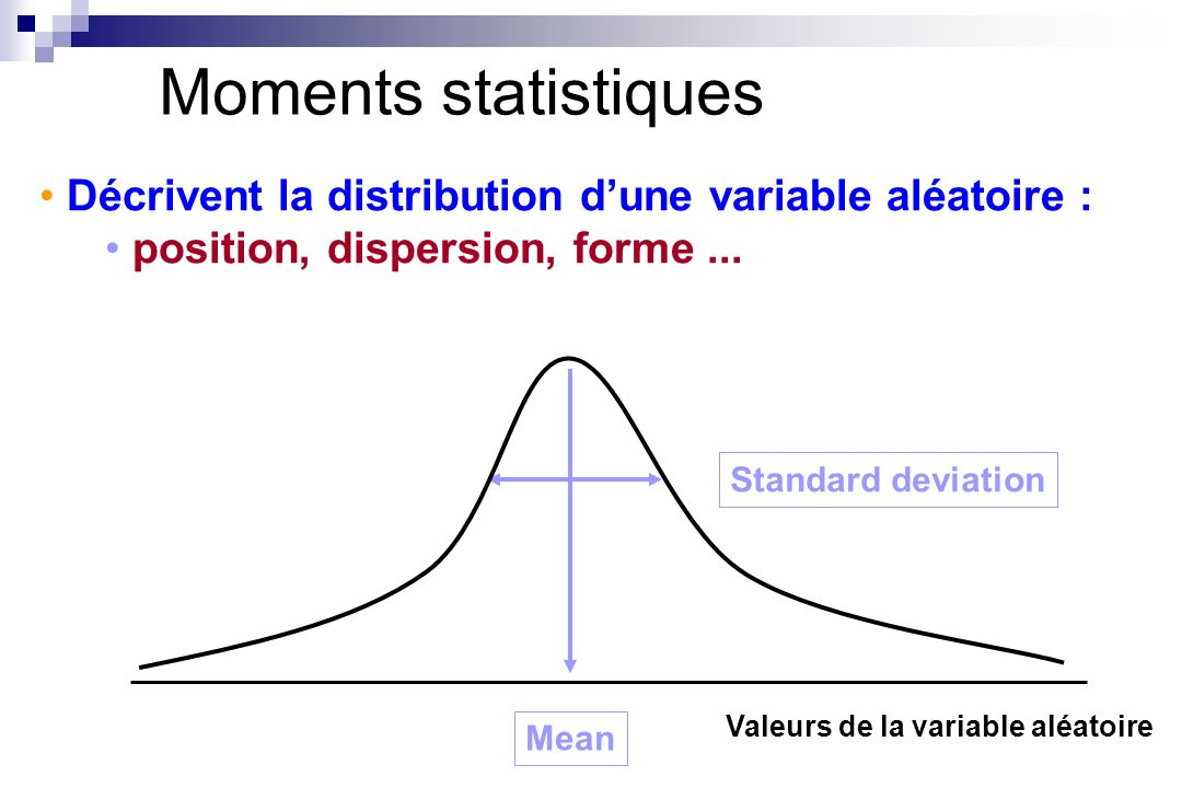 Moments statistiquesDécrivent la distribution d'une variable aléatoire : position, dispersion, forme ...
