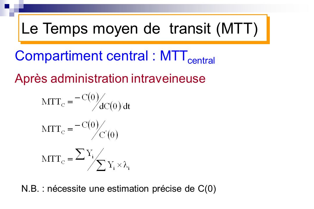 Compartiment central : MTTcentral