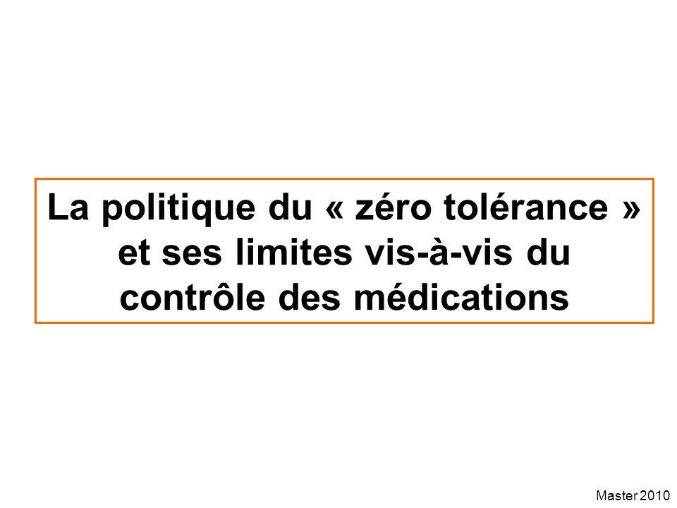 La politique du « zéro tolérance » et ses limites vis-à-vis du contrôle des médications