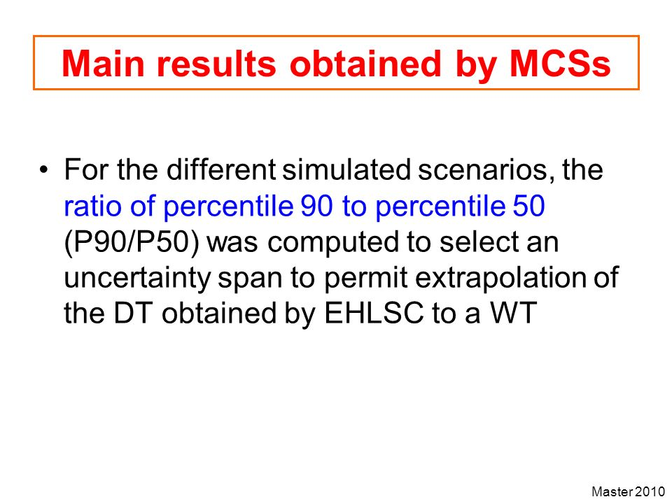Main results obtained by MCSs