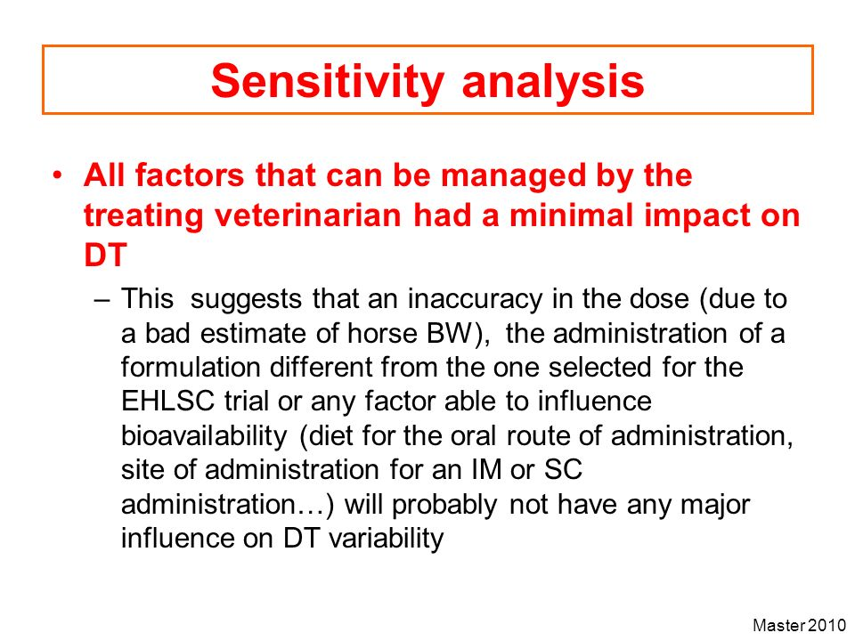 Sensitivity analysis All factors that can be managed by the treating veterinarian had a minimal impact on DT.