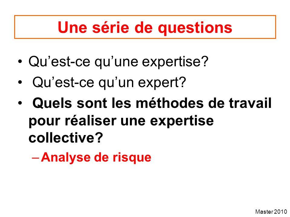 Une série de questions Qu'est-ce qu'une expertise