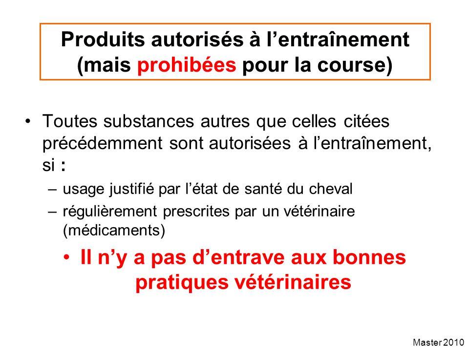 Produits autorisés à l'entraînement (mais prohibées pour la course)