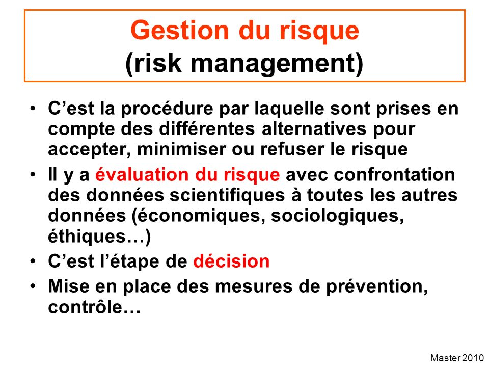 Gestion du risque (risk management)
