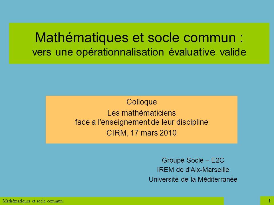 Mathématiques et socle commun : vers une opérationnalisation évaluative valide