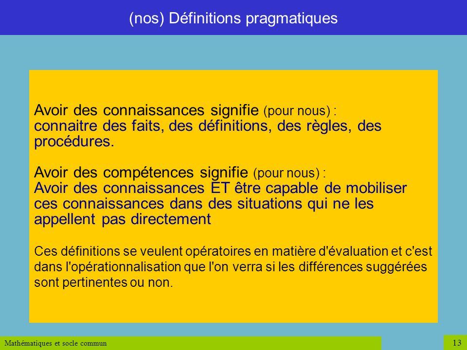 (nos) Définitions pragmatiques