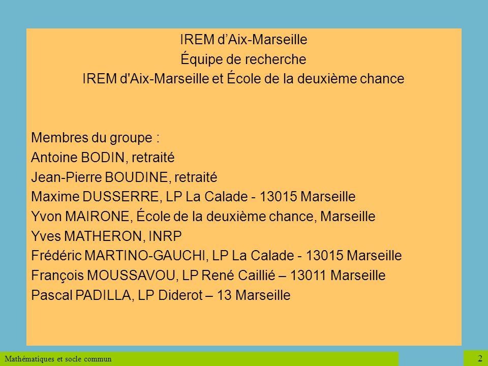 IREM d Aix-Marseille et École de la deuxième chance